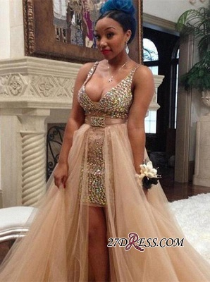 Hi-Lo Crystals Sleeveless V-neck Elegant Tulle Straps Prom Dress UK BK0_2