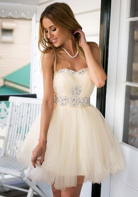Cute Sweetheary SHort Tulle Homecoming Dress UK With Crystals BA7344_2