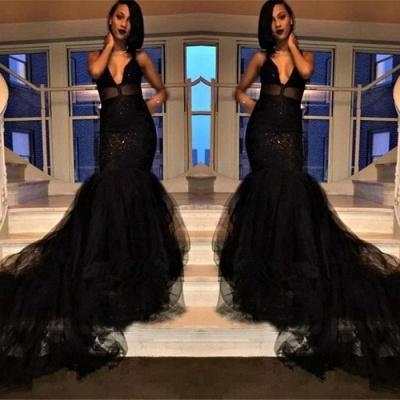 Elegant Black Prom Dress UK | V-Neck Evening Gowns Long BK0_3