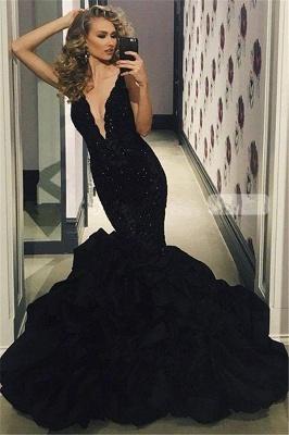 Elegant Black Prom Dress UK | Lace Appliques Mermaid Evening Party Gowns_1