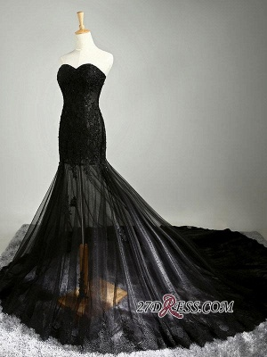 Elegant Black Sweetheart Mermaid Evening Dress UK Sheer Skirt Long Party Dress UK With Lace_6