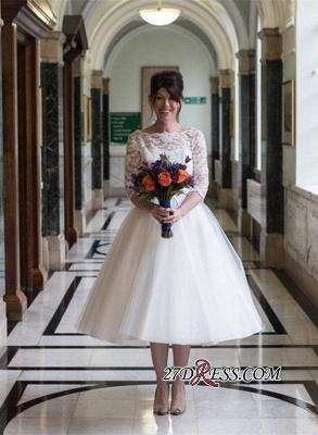 Zipper Fashion Designer Lace Tea-Length Tulle Wedding Dress_3