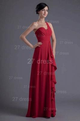 Modern One Shoulder Chiffon Evening Dress UK Floor-length Ruffles_4