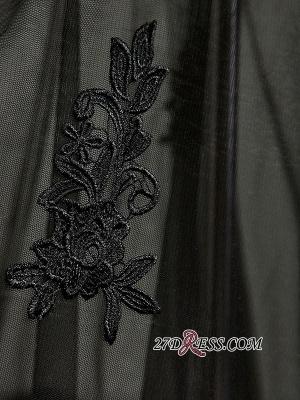 Elegant Black Sweetheart Mermaid Evening Dress UK Sheer Skirt Long Party Dress UK With Lace_3