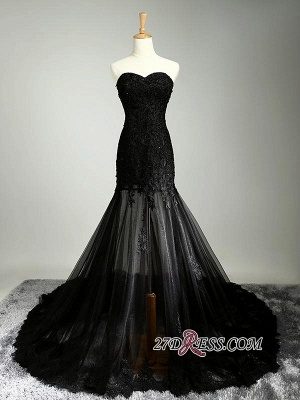 Elegant Black Sweetheart Mermaid Evening Dress UK Sheer Skirt Long Party Dress UK With Lace_1
