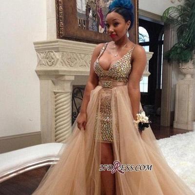 Hi-Lo Crystals Sleeveless V-neck Elegant Tulle Straps Prom Dress UK BK0_1
