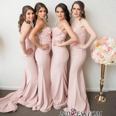 Pink Mermaid 3D-Floral-Appliques Spaghettis-Straps Bridesmaid Dress UKes UK_3