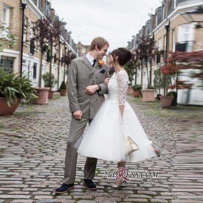 Zipper Fashion Designer Lace Tea-Length Tulle Wedding Dress_1
