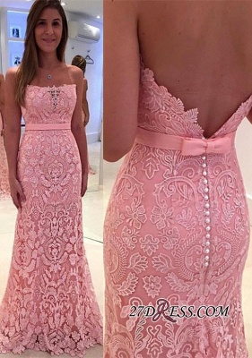Luxury Lace Zipper Mermaid Pink Pearls Strapless Prom Dress UK_2