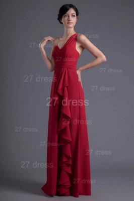 Modern One Shoulder Chiffon Evening Dress UK Floor-length Ruffles_1