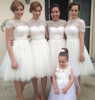 Romantic White Tulle Lace Bridesmaid Dress UK Short Sleeve_1