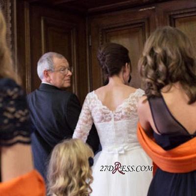 Zipper Fashion Designer Lace Tea-Length Tulle Wedding Dress_2