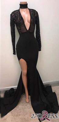 Black Split V-Neck Mermaid Long-Sleeve Elegant Prom Dress UK PT0318_1