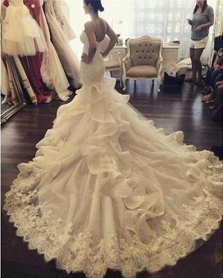 Sexy Mermaid Ruffles Lace Wedding Dress Spaghetti Strap Sleeveless_1