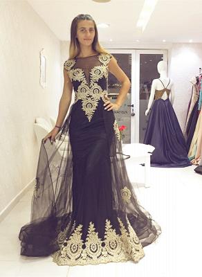 Luxury Cap-Sleeve Black Evening Dress UK With Golden Appliques Ruffles On Sale_1