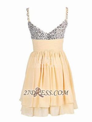 Elegant Sweetheart Sleeveless Beadings Chiffon Short Homecoming Dress UK_2