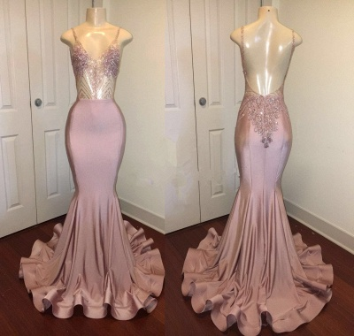Newest Pink Beads Spaghetti Strap Prom Dress UK | Mermaid Prom Dress UK_3
