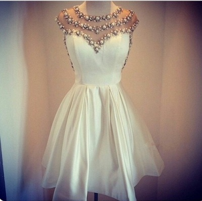 Lovely White Pearls Short Prom Dress UK Cap Sleeve Vintage Homecoming Dress UK_2