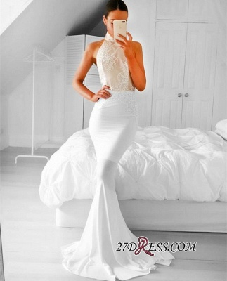 Appliques Simple Mermaid Halter Sleeveless Prom Dress UK_1