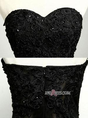 Elegant Black Sweetheart Mermaid Evening Dress UK Sheer Skirt Long Party Dress UK With Lace_4
