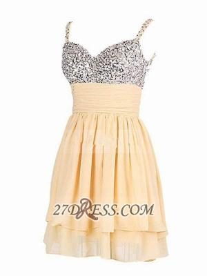 Elegant Sweetheart Sleeveless Beadings Chiffon Short Homecoming Dress UK_3
