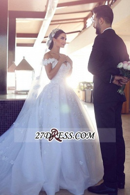 Train Tulle Sweetheart Off-the-shoulder Luxurious Appliques Wedding Dress_3