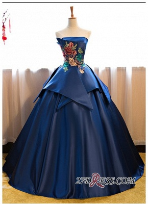 Puffy Strapless Embroidery Sexy Long Prom Dress UKes UK On Sale_4