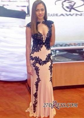 Sweep-Train Lace-Appliques Elegant Long Cap-Sleeve Mermaid Prom Dress UK_3