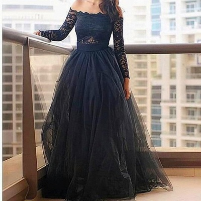 Modern Off-the-shoulder Black Prom Dress UK With Lace Long Sleeve_1