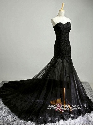 Elegant Black Sweetheart Mermaid Evening Dress UK Sheer Skirt Long Party Dress UK With Lace_2