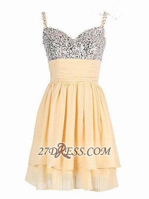 Elegant Sweetheart Sleeveless Beadings Chiffon Short Homecoming Dress UK_1