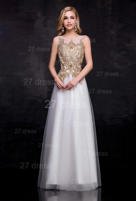Delicate Lace Appliques Tulle Evening Dress UK A-line Floor-length_1