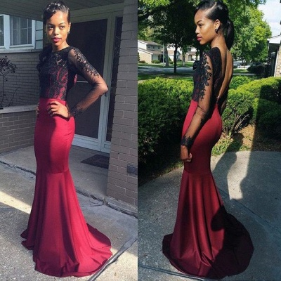 Stunning Long Sleeve Black Lace Evening Dress UKes UK Long Burgundy Prom Party Gown HT220 BK0_3