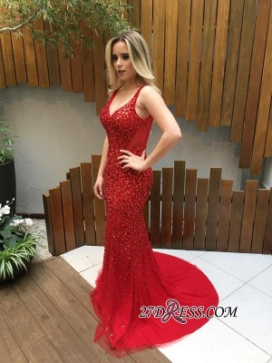 Long Crystals Red V-Neck Backless Mermaid Prom Dress UKes UK_1