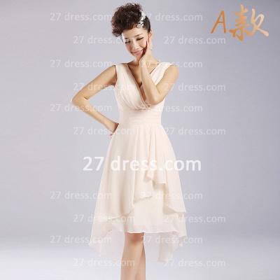 Flowers Six Chiffon Bridesmaid Dress UKes UK New Arrival A-line Ruffles Styles Knee-length_1