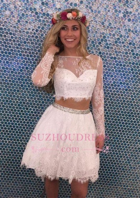Lace Lovely Two-Pieces Lace Short Long-Sleeves Beadings Homecoming Dress UK_1