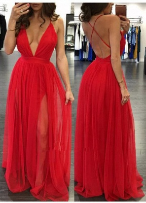 Elegant Tulle Spaghetti Strap Prom Dress UK Sleeveless Deep V-neck BA3629_1