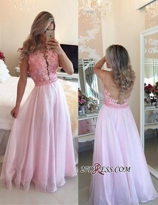 Pink Sheer-Tulle Crystal Appliques A-Line Elegant Prom Dress UKes UK_2