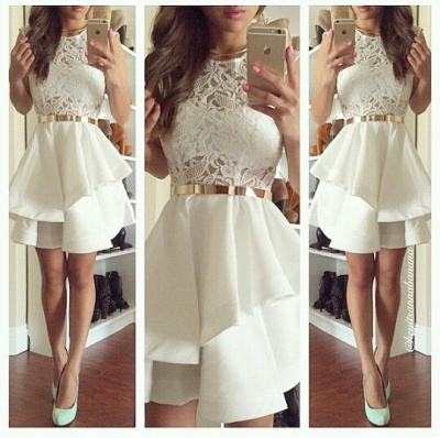 Newest Illusion Short White Cocktail Dress UK Lace Two Layer Ruffles_2