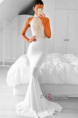 Appliques Simple Mermaid Halter Sleeveless Prom Dress UK_2