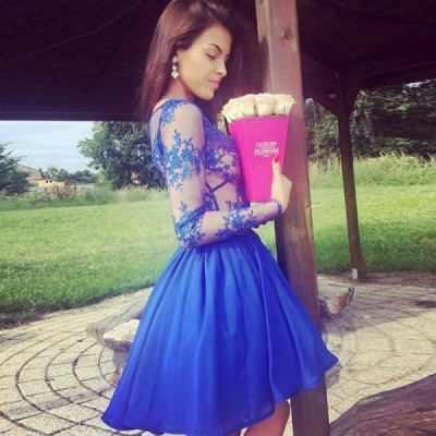 Royal-Blue Long-Sleeve Short Prom Dress UK | Lace Homecoming Dress UK_5