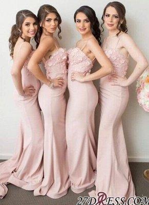 Pink Mermaid 3D-Floral-Appliques Spaghettis-Straps Bridesmaid Dress UKes UK_2