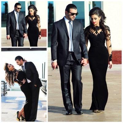 Elegant Black Long Sleeve Evening Dress UKes UK Appliques Long Prom Gown_1