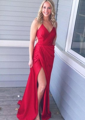 Red V-Neck Long Prom Dress UK   Long Evening Gowns With Slit_1