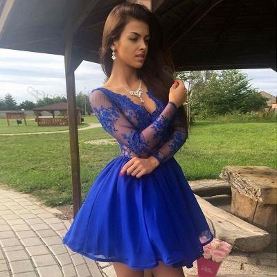 Royal-Blue Long-Sleeve Short Prom Dress UK | Lace Homecoming Dress UK_4