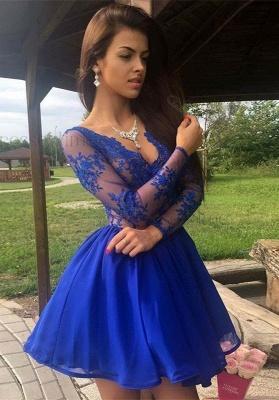 Royal-Blue Long-Sleeve Short Prom Dress UK | Lace Homecoming Dress UK_1