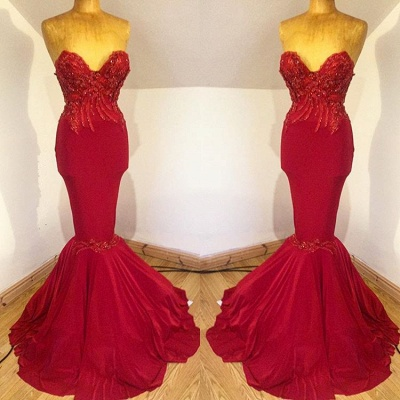 Gorgeous Sweetheart 2019 Evening Dress UK | Mermaid Long Prom Dress UK With Beadings_3