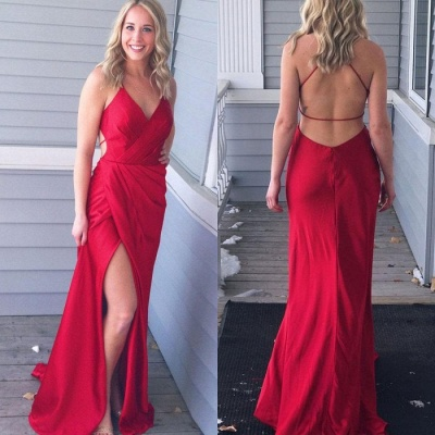 Red V-Neck Long Prom Dress UK   Long Evening Gowns With Slit_3