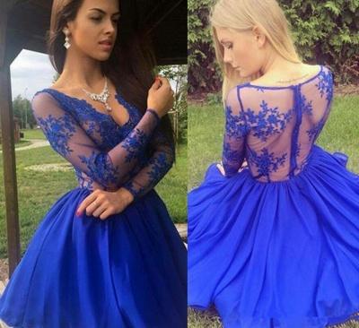 Royal-Blue Long-Sleeve Short Prom Dress UK | Lace Homecoming Dress UK_3