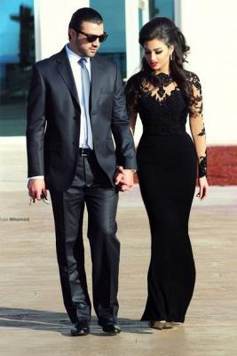 Elegant Black Long Sleeve Evening Dress UKes UK Appliques Long Prom Gown_3